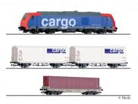 Tillig 01501 set nákladního vlaku SBB s kolejemi na podloží