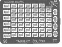 Detail 98 kovový lept tabulky ČD, ČSD TT