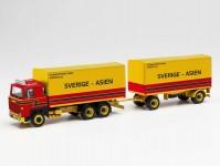 Herpa 313902 Scania 141 s plachtou a přívěsem Stjärnströms Aker