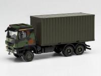 Herpa 746793 Iveco Trakker 6x6 s 20Ft kontejnerem maskovací nátěr