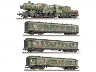 Liliput L130002 set Vojenský transport s lokomotivou řady 42 v maskovaném provedení DRB