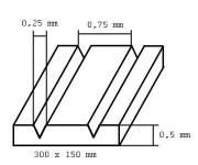"Evergreen 2030 deska 150x300x0,5mm s drážkami ""V"", rozteč 0,75mm"