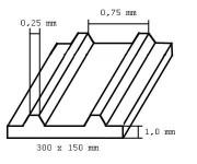 Evergreen 4525 deska 150x300x1,0mm trapézová, rozteč drážek 0,75mm
