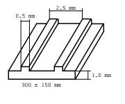 Evergreen 4543 deska 150x300x1,0mm s vystupujícími žebry, rozteč 2,5mm