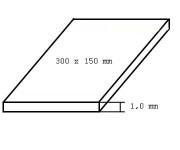 deska bílá, tloušťka 1mm formát 150 x 300mm 2 ks