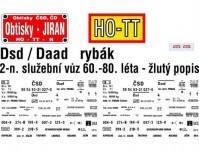 Obtisky Jiran t0240 obtisk na 2-osý služební vůz Dsd/Daad/-k - rybák - , žlutý popis, 60.-90. léta