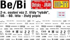 Obtisky Jiran t0248 obtisk na osobní vůz Be/Bi - rybák 50. - 60. léta