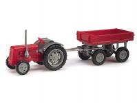 Busch 211006201 traktor Famulus s přívěsem červený