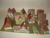 vesnice s domy živnostníků papírová stavebnice