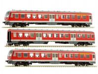 Liliput L133154 motorový vůz řady 614/914 červený 3-dílný DB AG V.epocha