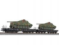 Liliput L230144 dvojice plošinových vozů SSyms DRB II.epocha naložené tanky set 1