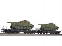 Liliput L230145 dvojice plošinových vozů SSyms DRB II.epocha naložené tanky set 2