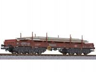 Liliput L235762 plošinový vůz Sahmms s ocelovými deskami DB AG V.epocha patinovaný