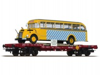 Liliput L235782 plošinový vůz s autobusem Gräf+Stift SLB V.epocha