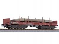 Liliput L235794 plošinový vůz Sahmms 711 hnědý s ocelovými deskami DB AG V.epocha patinovaný