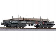 Liliput L235795 plošinový vůz Sahmms 711 černý s ocelovými deskami DB AG V.epocha patinovaný