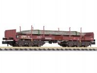 Liliput L265794 plošinový vůz Sahmms 711 hnědý s ocelovými deskami DB AG V.epocha patinovaný