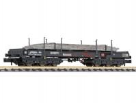 Liliput L265795 plošinový vůz Sahmms 711 černý s ocelovými deskami DB AG V.epocha patinovaný