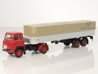 Brekina 85153 Scania LB 76 valník s plachtou červená/stříbrná