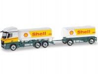 Herpa 310437 MB Actros 2011 SteamSpace cisterna na benzín s vlekem Shell