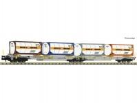 kontejnerový dvojvůz Sdggmrs/T2000 AAE s dvěma kontejnery Bertschi VI.epocha