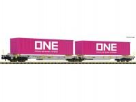 kontejnerový dvojvůz Sdggmrs/T2000 AAE s dvěma kontejnery ONE VI.epocha