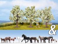 Noch 94003 koně a kvetoucí ovocné stromy