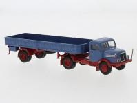 Brekina 71400 IFA S 4000-1 s otevřeným návěsem modrá / červená
