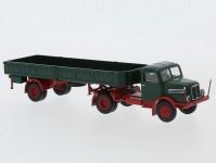 Brekina 71402 IFA S 4000-1 s otevřeným návěsem zelená / červená